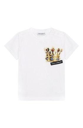 Детский хлопковая футболка DOLCE & GABBANA белого цвета, арт. L1JT7W/G7REY | Фото 1