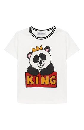 Детский хлопковая футболка DOLCE & GABBANA белого цвета, арт. L1JT7W/G7REZ | Фото 1