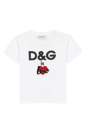 Детский хлопковая футболка DOLCE & GABBANA белого цвета, арт. L2JTBE/G7RHZ | Фото 1