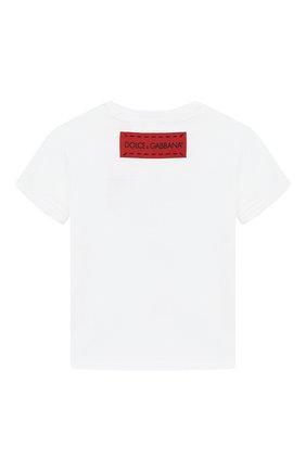 Детский хлопковая футболка DOLCE & GABBANA белого цвета, арт. L2JTBE/G7RHZ | Фото 2