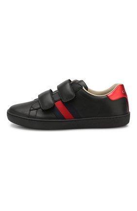 Детские кожаные кеды с застежками велькро GUCCI черного цвета, арт. 455496/CPWP0 | Фото 2