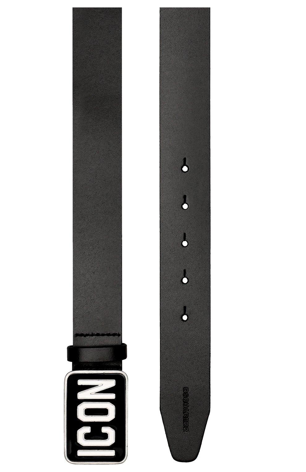 Детский кожаный ремень с металлической пряжкой DSQUARED2 черного цвета, арт. DQ02NT-D00Q1 | Фото 2
