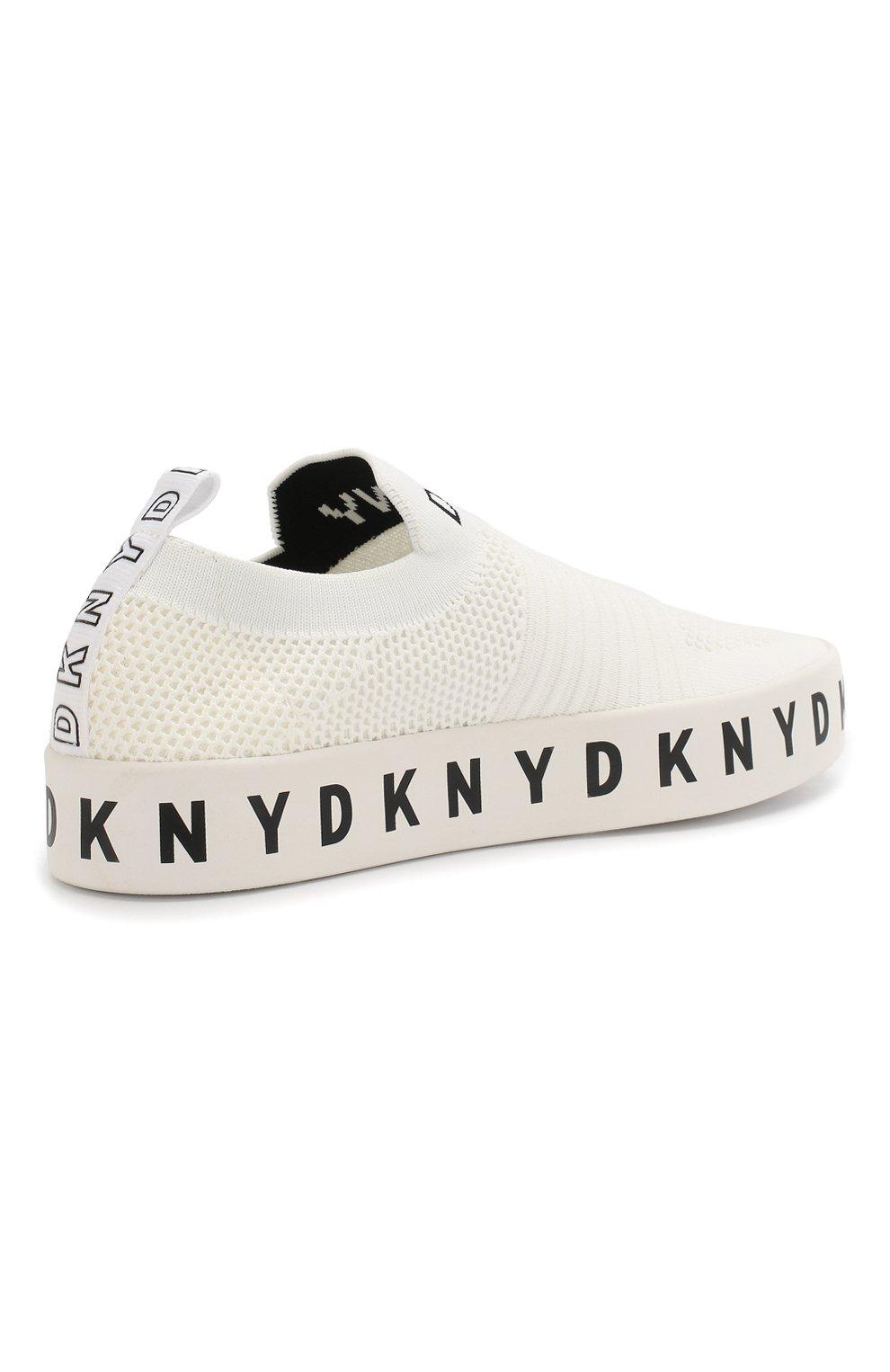 Текстильные слипоны Banson DKNY белые | Фото №4