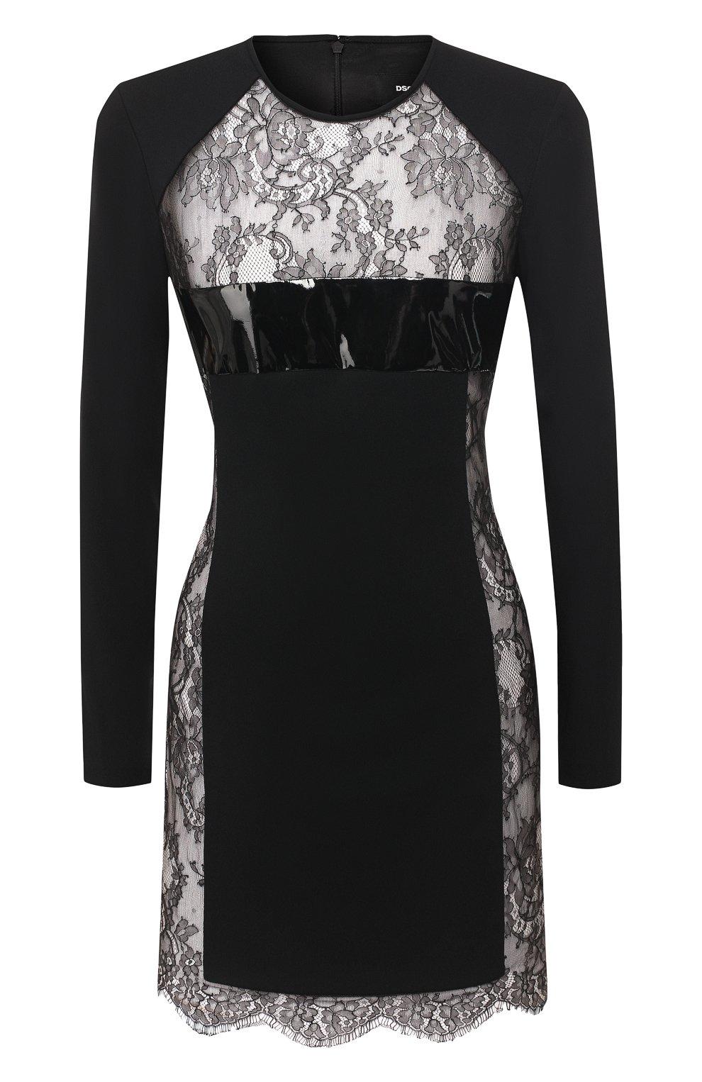 ebf5a841296 Женское черное платье с кружевной вставкой DSQUARED2 — купить за ...