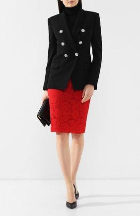 Женская кружевная юбка-миди VALENTINO красного цвета, арт. RB3RA4L11EC | Фото 2