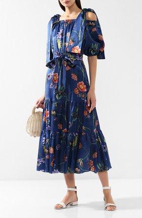 Женское платье из смеси хлопка и шелка BORGO DE NOR синего цвета, арт. R0SA/VINTAGE FL0RAL | Фото 2