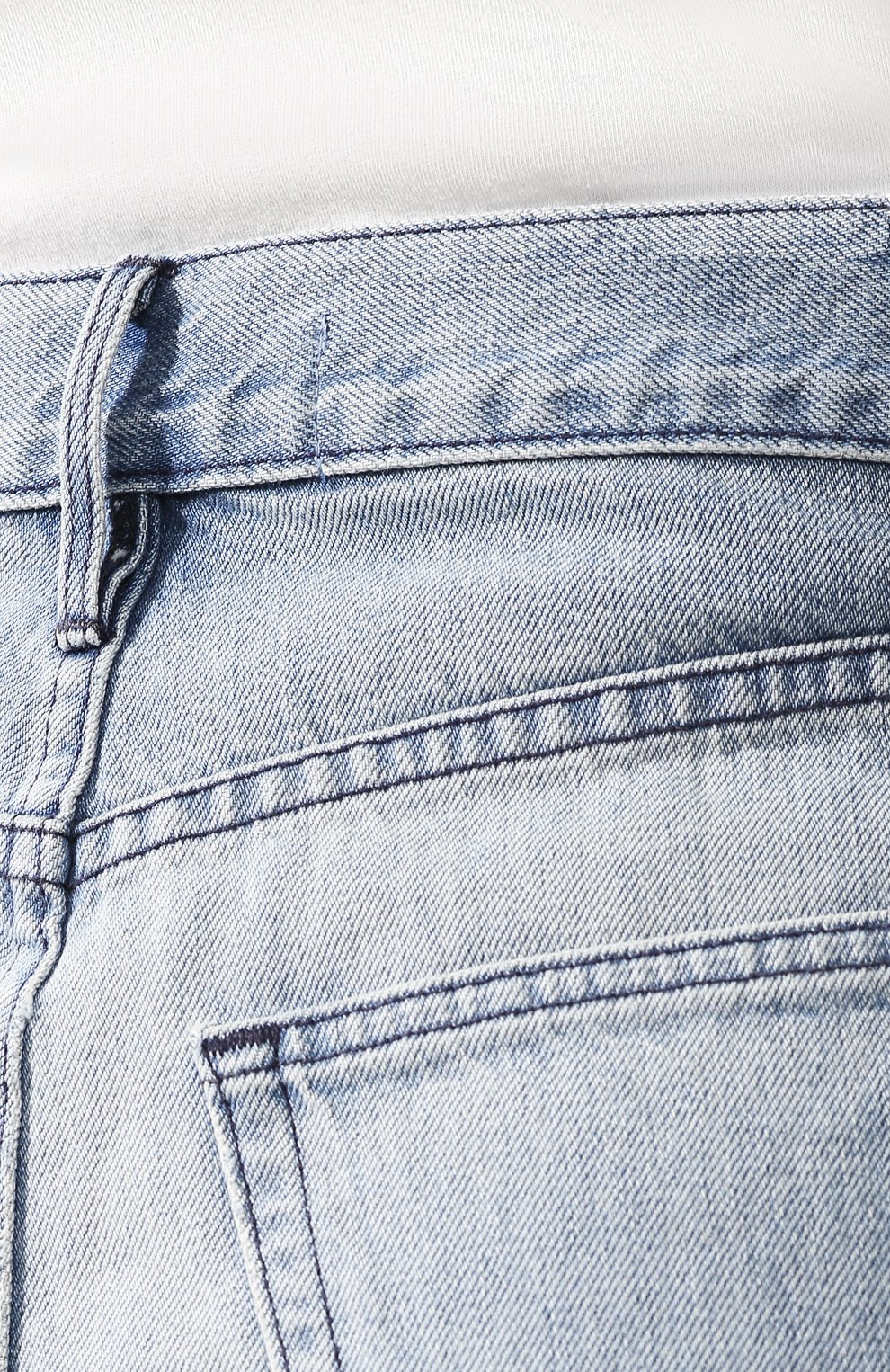 Женские джинсовые шорты 3X1 голубого цвета, арт. WSX4S0866/ZAC   Фото 5 (Женское Кросс-КТ: Шорты-одежда; Кросс-КТ: Деним; Длина Ж (юбки, платья, шорты): Мини; Материал внешний: Хлопок, Деним; Статус проверки: Проверено; Стили: Кэжуэл)
