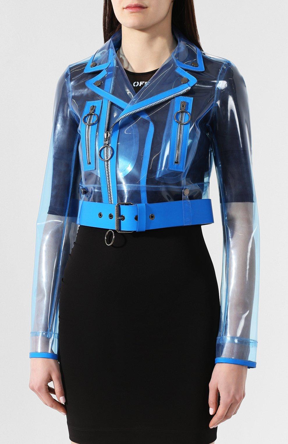 Женская прозрачная куртка OFF-WHITE голубого цвета, арт. 0WJG001R19C650563110 | Фото 3