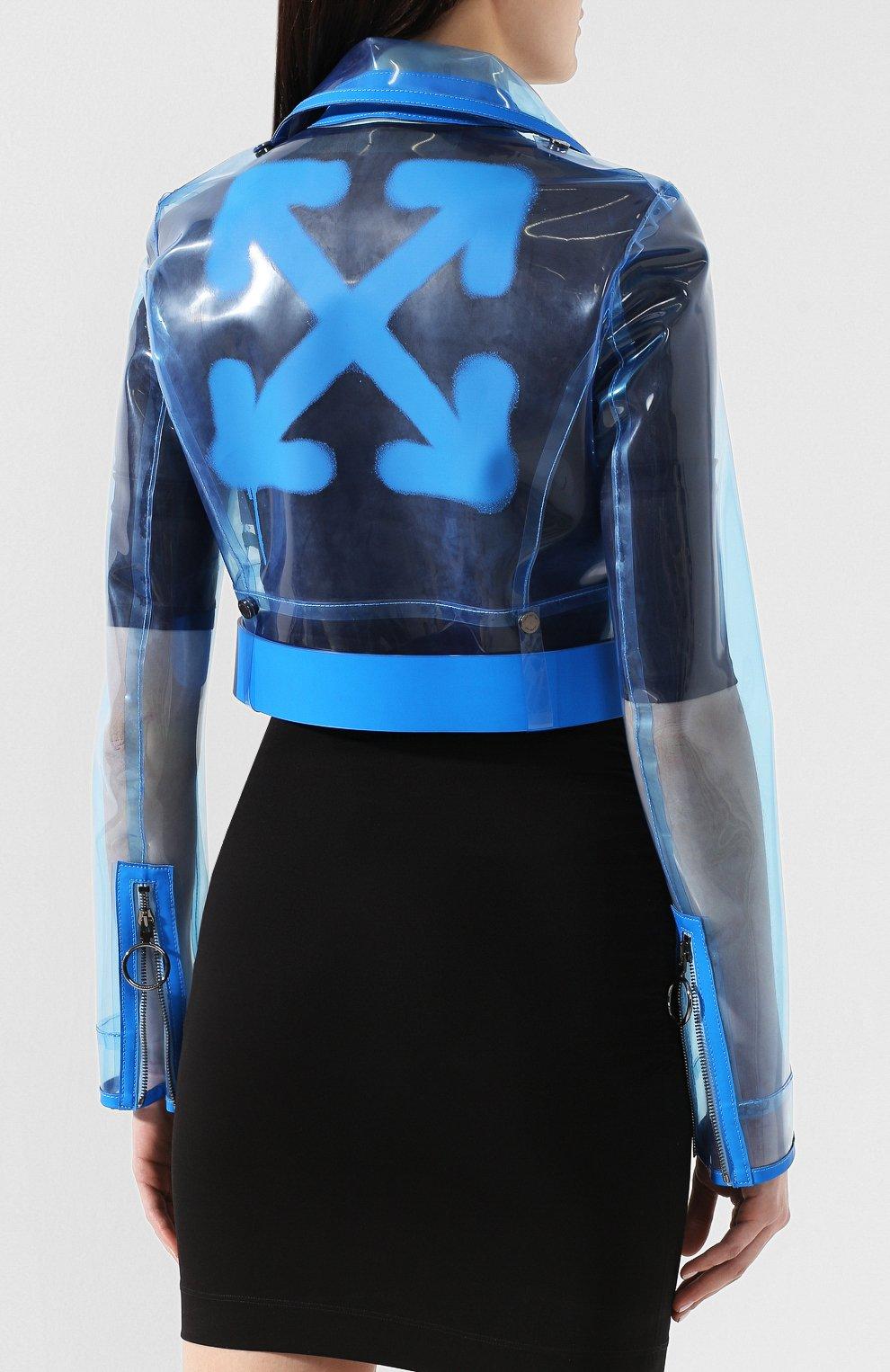 Женская прозрачная куртка OFF-WHITE голубого цвета, арт. 0WJG001R19C650563110 | Фото 4