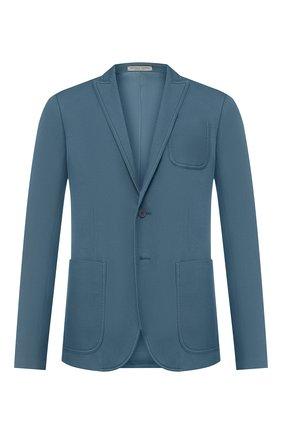Мужской хлопковый пиджак BOTTEGA VENETA бирюзового цвета, арт. 545031/VEWD0   Фото 1