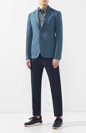 Мужской хлопковый пиджак BOTTEGA VENETA бирюзового цвета, арт. 545031/VEWD0   Фото 2