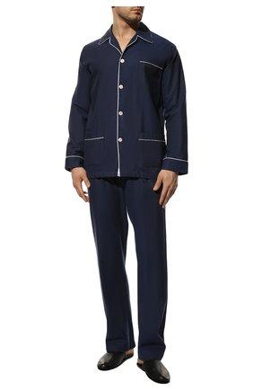 Мужская хлопковая пижама DEREK ROSE темно-синего цвета, арт. 5005-L0MB006 | Фото 2