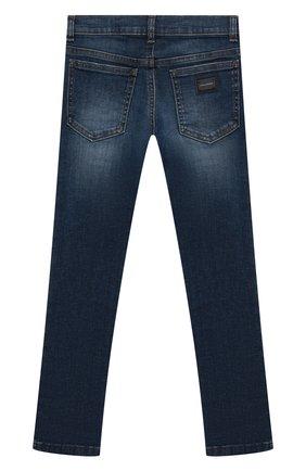 Детские джинсы с декоративными потертостями DOLCE & GABBANA темно-синего цвета, арт. L41F96/LD725/8-14   Фото 2