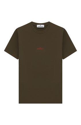 Детская хлопковая футболка STONE ISLAND хаки цвета, арт. 701621452/10-14 | Фото 1