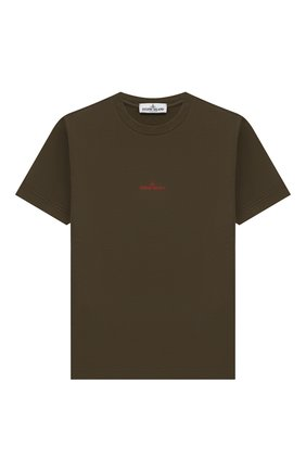 Детская хлопковая футболка STONE ISLAND хаки цвета, арт. 701621452/4 | Фото 1