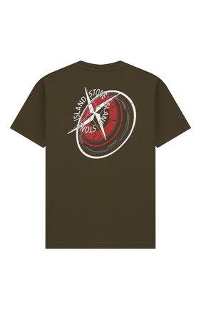 Детская хлопковая футболка STONE ISLAND хаки цвета, арт. 701621452/4 | Фото 2