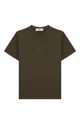 Детская хлопковая футболка STONE ISLAND хаки цвета, арт. 701621452/6-8 | Фото 1