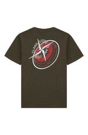 Детская хлопковая футболка STONE ISLAND хаки цвета, арт. 701621452/6-8 | Фото 2
