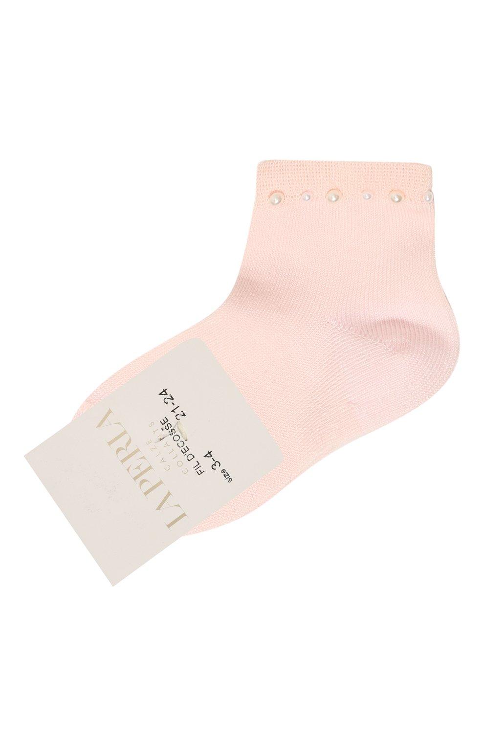 Детские хлопковые носки LA PERLA розового цвета, арт. 42045/3-6   Фото 1 (Материал: Текстиль, Хлопок; Статус проверки: Проверена категория)