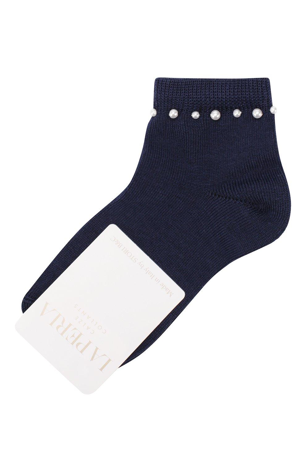 Детские хлопковые носки LA PERLA синего цвета, арт. 42045/3-6   Фото 1 (Материал: Текстиль, Хлопок; Статус проверки: Проверена категория)