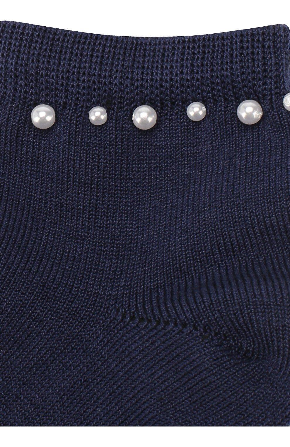 Детские хлопковые носки LA PERLA синего цвета, арт. 42045/3-6   Фото 2 (Материал: Текстиль, Хлопок; Статус проверки: Проверена категория)