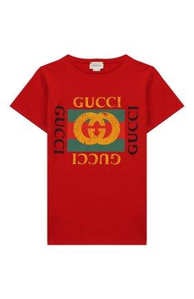 Детская хлопковая футболка GUCCI красного цвета, арт. 475740/X3G17 | Фото 1
