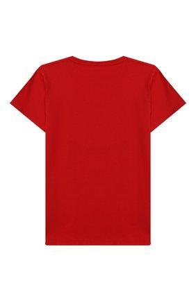 Детская хлопковая футболка GUCCI красного цвета, арт. 475740/X3G17 | Фото 2