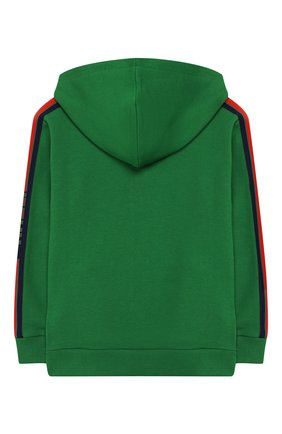 Детский хлопковый кардиган с капюшоном GUCCI зеленого цвета, арт. 540648/X9L54 | Фото 2