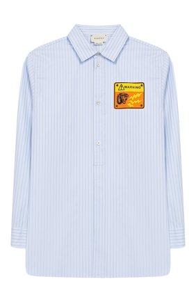Детская хлопковая рубашка GUCCI голубого цвета, арт. 547822/XWABW | Фото 1