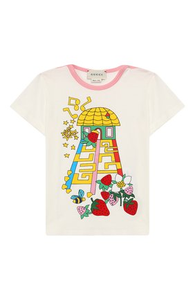 Детский хлопковая футболка GUCCI белого цвета, арт. 555676/XJAPV | Фото 1
