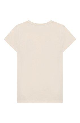 Детская хлопковая футболка GUCCI бежевого цвета, арт. 561656/XJA01 | Фото 2