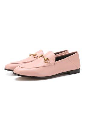 Женские кожаные лоферы brixton GUCCI розового цвета, арт. 414998/DLC00 | Фото 1