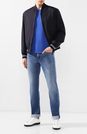 Мужская хлопковая футболка BRIONI синего цвета, арт. UMR00L/P8K34 | Фото 2