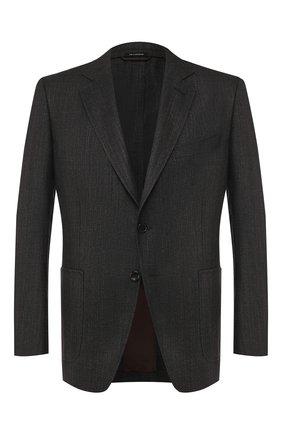 Мужской пиджак из смеси шерсти и льна TOM FORD коричневого цвета, арт. 576R02/1DYJ40   Фото 1