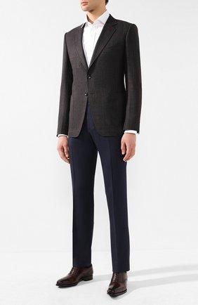 Мужской пиджак из смеси шерсти и льна TOM FORD коричневого цвета, арт. 576R02/1DYJ40 | Фото 2
