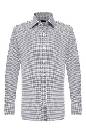 Мужская хлопковая рубашка TOM FORD черно-белого цвета, арт. 5FT600/94S1JE | Фото 1