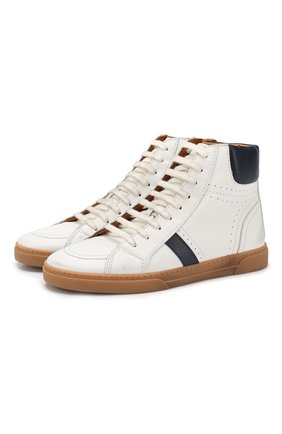 Мужские кожаные кеды SAINT LAURENT белого цвета, арт. 549559/0ZS20 | Фото 1