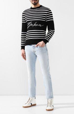 Мужские кожаные кеды SAINT LAURENT белого цвета, арт. 549559/0ZS20 | Фото 2