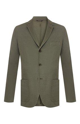 Мужской пиджак из смеси хлопка и шелка LORO PIANA хаки цвета, арт. FAE8388 | Фото 1