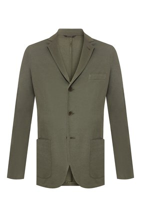 Мужской пиджак из хлопка и шелка LORO PIANA хаки цвета, арт. FAE8388   Фото 1