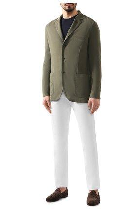 Мужской пиджак из хлопка и шелка LORO PIANA хаки цвета, арт. FAE8388   Фото 2