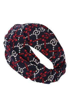Повязка на голову из хлопка Gucci синего цвета | Фото №2