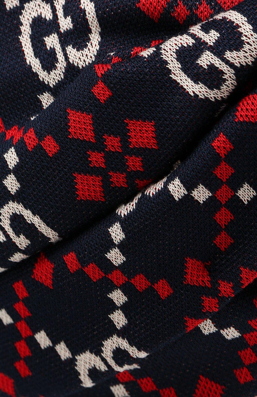 Повязка на голову из хлопка Gucci синего цвета | Фото №3