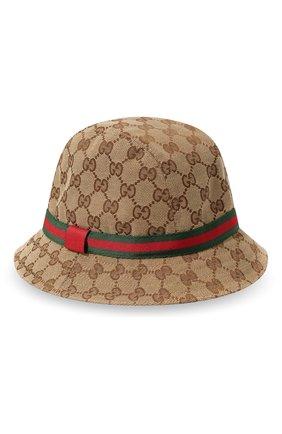 Детская шляпа GUCCI коричневого цвета, арт. 411790/4HD09 | Фото 2