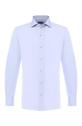 Мужская хлопковая сорочка с воротником кент TOM FORD голубого цвета, арт. 5FT009/94S1AX | Фото 1