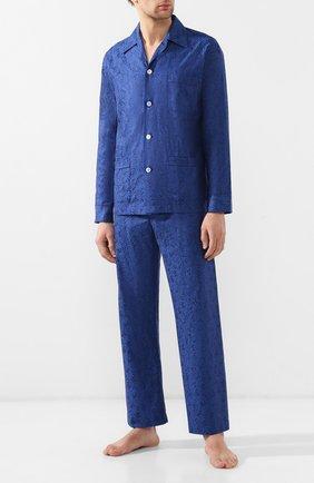 Мужская хлопковая пижама DEREK ROSE темно-синего цвета, арт. 5000-PARI015 | Фото 1