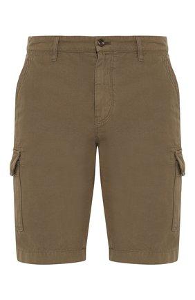 Мужские шорты из смеси хлопка и льна LORO PIANA хаки цвета, арт. FAI6469 | Фото 1