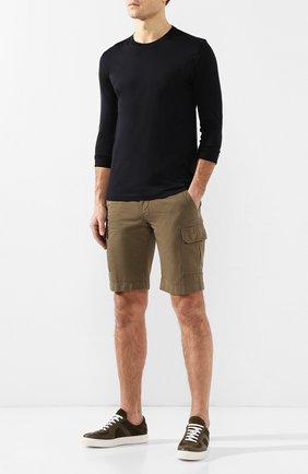 Мужские шорты из смеси хлопка и льна LORO PIANA хаки цвета, арт. FAI6469 | Фото 2