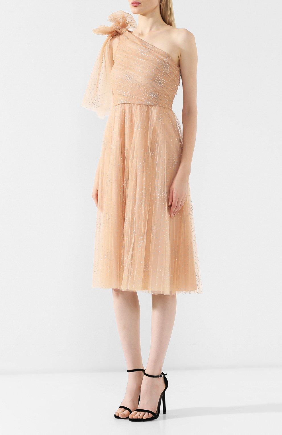 Платье с бантом REDVALENTINO бежевое | Фото №3