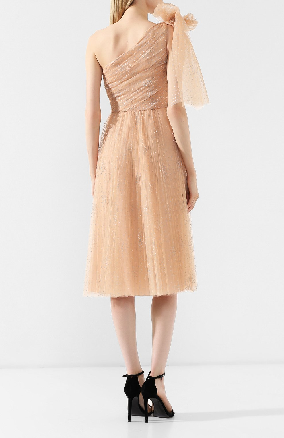 Платье с бантом REDVALENTINO бежевое | Фото №4